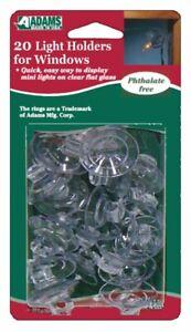 ADAMS Christmas 20 Light Holders for Windows Christmas Fairy Light Suction Cups