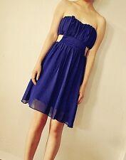 Blue tube top strapless chiffon cutout sides dress size small New