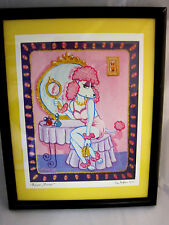 Tina Norton Pink Poodle 2002 Black Framed Matted Print Mirror, Mirror Puppy Dog