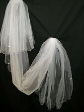 Wedding Bridal Cathedral Pearl Edge Two Tier Veil -  260cm Long - WHITE