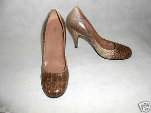 Dolcis Court Shoes Heels Croc print Stiletto Leather Women Size 3