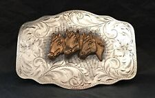 MAGNIFICENT & AWESOME OLD STERLING SILVER 8 DIABLO 3 HORSES WESTERN BELT BUCKLE