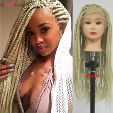 Long Blonde Box Braid Wig Synthetic Lace Front Wig 3X Braiding Crochet Hair Wigs