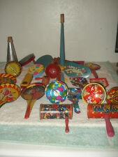 Vintage 1950s-60s Lot 25 Noisemakers Tin Litho wood Noise Maker New Years Party