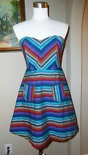 C LUCE Chevron Stripe Corset Fit & Flare Dress Size Small S