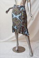 COOPER TRELISE Multicoloured Paisley Park Print Silk Ruffle Pencil Skirt AU8
