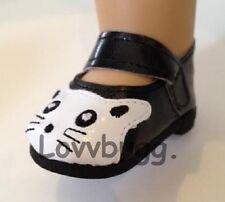"""Black & White Kitty Cat Shoes for American Girl 18"""" Doll & Baby Lovvbugg Design!"""