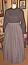 Civil War Dress~Victorian Style-100% Cotton Steel Gr 00004000 Ay Camp/Work/Mourning Skirt