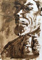 Mischtechnik Miniatur Studie Porträt Kopf Mann Bart 10 x 14 cm