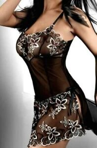 Ladies Black Lace Embroidered Sexy Babydoll Chemise & Thong Lingerie Size 16-18