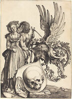 """Albrecht Durer - """"Coat of Arms with a Skull"""" - Fine Art Real Canvas Print"""