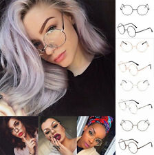 Classic Unisex Metal Frame Clear Round Lens Glasses Nerd Spectacles Eyeglass New