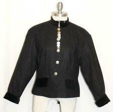 WOOL & VELVET Women BLACK Austria Princess Fitted Short Dress Suit JACKET 40 8 S