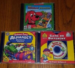 3 PRESCHOOL CD-ROM's School Zone Alphabet & Same Or Different & Clifford Phonics