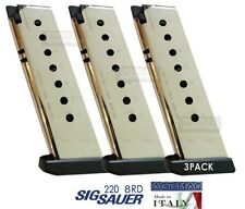 3 PACK Sig Sauer P220 8rd magazine .45 ACP NICKEL ACT MAG Made In Italy NEW