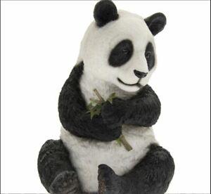 Panda Ornament Figurine -  Panda sitting holding Stem  Home & garden deco