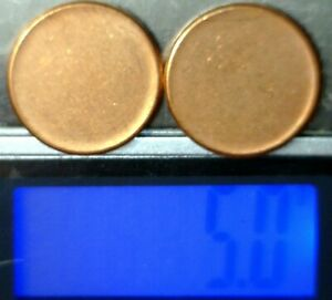 2 Pc BLANK UNstruck ERROR BU Lincoln Cent PLANCHET =  2 Coin Penny LOT  NR