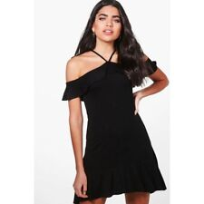 NEW BNWT BOOHOO KELLY STRAPPY OFF THE SHOULDER SHIFT BLACK DRESS SIZE 12 EUR 40