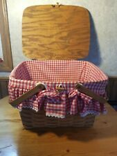 Antique Wooden Picnic Basket Wicker Red Plaid Cloth Liner/Trim Leather Hinges