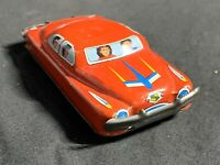 "Vintage Japan Tin Toy Car Litho Friction 3"" Red Litho CADILLAC FAMILY SEDAN"