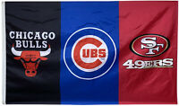 Chicago Cubs & Bulls & San Francisco 49ers flag 3x5 feet Banner