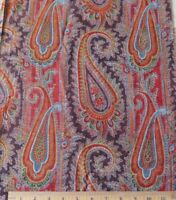 """Antique 1850-1860 Hand Blocked French Turkey Red Cotton Paisley Fabric~41"""" X 14"""""""