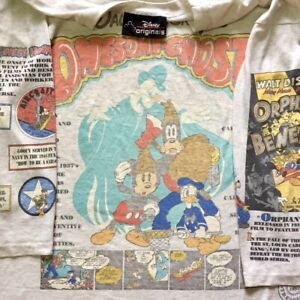 Vintage Disney Lonesome Ghosts Mickey Donal Duck Goofy AOP Shirt Promo 90s Rare