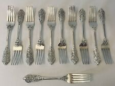 """Lot 11 FB Rogers GRAND ANTIQUE 7.38"""" Forks Silverplate IS 1995 Flatware Cutlery"""