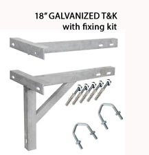 "T&K Wall Bracket 18"" Aerial Radio Satellite mast pole fixing U bolts GALVANIZED"