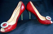 Escada Shoes Pumps Size 8 38 Lipstick Red Lucite Heels Patent Leather Vintage