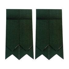 Men's Scottish Highland Kilt Hose Sock Flashes Plain Green Tartan Garter Pointed