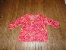 Women's Coral SIGRID OLSEN 3/4 Sleeve Paisley Print Knit Top - COMFY! Sz 2X NICE