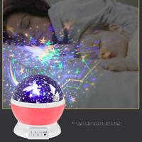 Rotating LED Light Projector Star Moon Sky Baby Kids Night Mood Lamp Xmas Decor