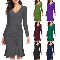 Women's V-Neck Long Sleeve Ruched Ruffle Drawstring Bodycon Sheath Midi Dress