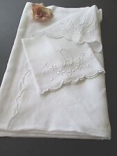 "ANTIQUE FRENCH LINEN SHEET & PILLOWCASE.. HAND EMBROIDERY MONOGRAM ""D"""