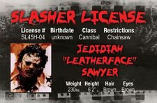 Texas Chainsaw Massacre Leatherface Halloween costume id card Drivers License