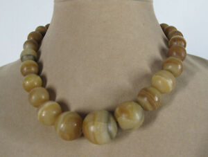 29 Antique Tibetan Himalayan Banded Graduating Agate Beads On Necklace yqz