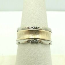 14K Yellow & White Two Tone Gold Textured Center Scroll Border Ring Sz 8.5 M252