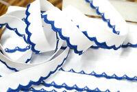 Zierborte weiß blau mit gebogtem blauem Rand 1,5 cm breit 18,50 m lang