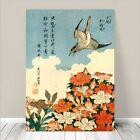 "Beautiful Japanese Bird Art ~ CANVAS PRINT 8x10"" Hokusai Cuckoo & Azaleas"