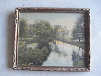 Vintage 1920s Wallace Nutting Print A Barre Brook in Original Frame LOOK