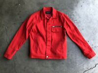 Andersson Bell Unisex Linus Denim Trucker Jacket sz Medium Red
