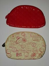 Ipsy Makeup Bags, Lot of 2, Red Quilted, Pink & Ivory Passport Stamps
