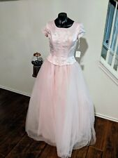 Petal Pink Satin & Tulle 2 Piece Embroidered Short Sleeve Formal Dress Prom HOCO