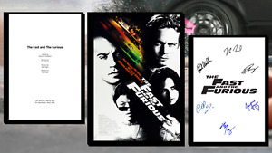 Fast And Furious Script/Screenplay & Movie Poster And Autographs Signed Print