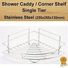 Stainless Steel Single Tier Shower Caddy Organizer Corner Rack Shelf Basket
