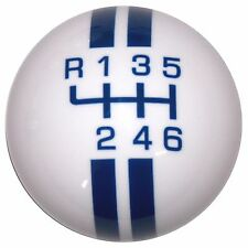 Rally White w/ Blue Stripes Mustang -L 6 Speed shift knob M12x1.25