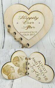 Personalised Wooden Photo Heart Book Card Gift Wedding Birthday Anniversary