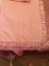 Pair Bella Notte King Cotton Velvet Shams Bubble Gum Pink Satin Ruffle