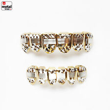 Iced Out Grillz 14k IP Gold Plated Diamond Cut Plain Top & Bottom Teeth LS001-C3